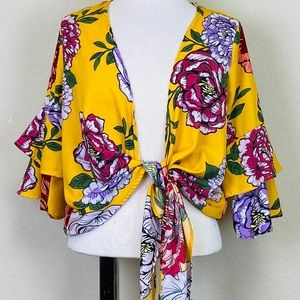 LIVE 4 TRUTH Mustard Yellow Floral Print Crop Top
